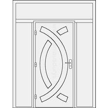 Lauko durys su dvejomis šoninėmis dalimis ir viršduriu